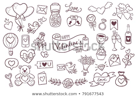 harten · collectie · doodle · stijl · gelukkig · valentijnsdag - stockfoto © netkov1
