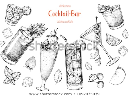 The Singapore Sling cocktail scetch Stock photo © netkov1