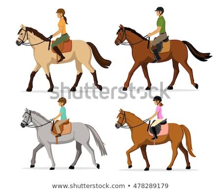Equitación vector establecer caballo diseño de logotipo elementos Foto stock © beaubelle