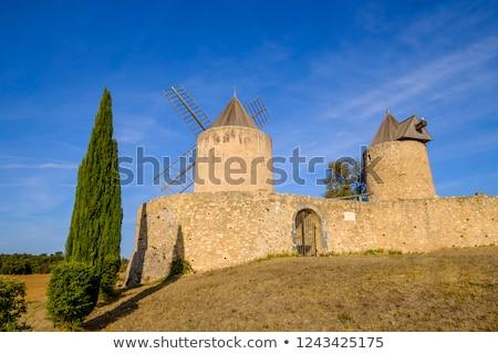Stok fotoğraf: Windmills In Regusse Provence France