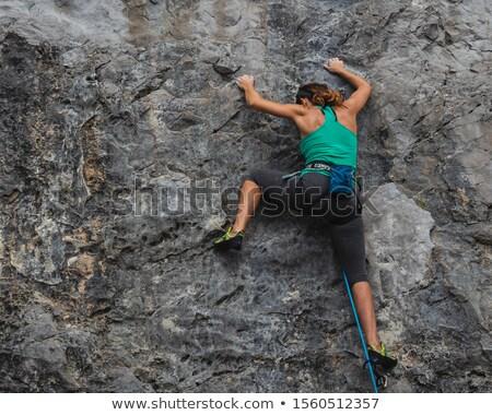 női · kő · elér · következő · markolás · út - stock fotó © gregepperson