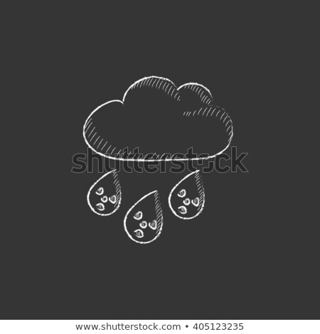 Radioactive cloud and rain. Drawn in chalk icon. Stock photo © RAStudio