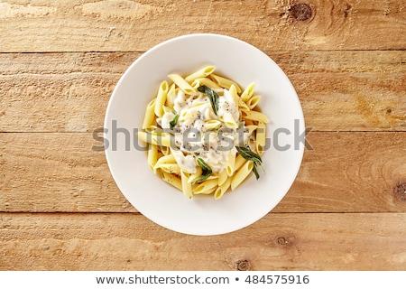 Spaghetti kremowy sos świeże bazylia żywności Zdjęcia stock © Digifoodstock