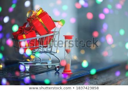Coûteux peu coffrets cadeaux espace de copie haut vers le bas Photo stock © ozgur