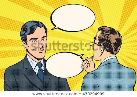 business · dialoog · communicatie · pop · art · retro-stijl · vreugde - stockfoto © studiostoks