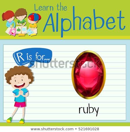 Letter r robijn illustratie achtergrond kunst onderwijs Stockfoto © bluering