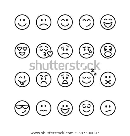 Smiley face emoji thin lines flat vector icons set Stock photo © vectorikart