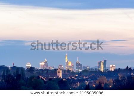 Frankfurt hoofd- laat avond licht Stockfoto © meinzahn