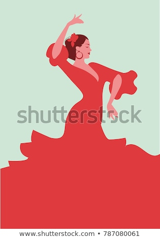 Gyönyörű táncos visel vörös ruha arc nők Stock fotó © konradbak
