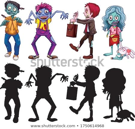 Scary зомби иллюстрация белый ребенка Сток-фото © bluering