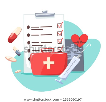 Piros orvosi táska űrlap szív izolált Stock fotó © mizar_21984
