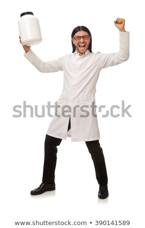 Funny doctor with protein jars isolated on white Stock photo © Elnur