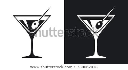 Deux olive martini cocktails fête verre Photo stock © Alex9500