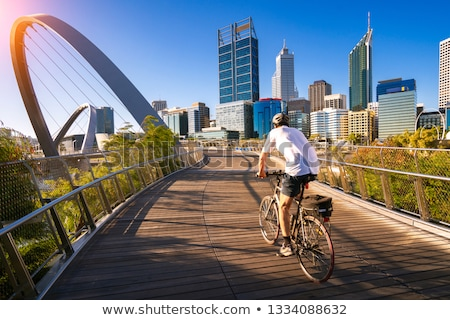 Bicyclist on a quay Stock photo © joyr