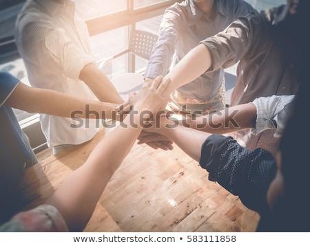 Arkadaşlar eller birlikte imzalamak birlik takım Stok fotoğraf © Yatsenko