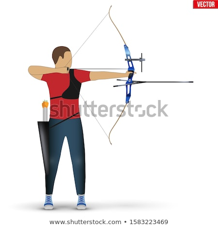 Archer training with the bow vector illustration. Stock photo © RAStudio