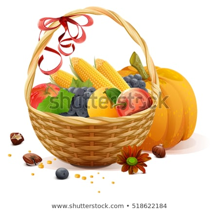 fruits and vegetables in wicker basket rich harvest for thanksgiving day stock photo © orensila