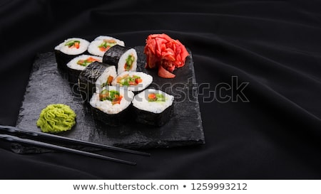 Plated Sushi with Wasabi Sushi Ginger and nori Stock photo © monkey_business