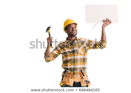 Stock photo: Young african-american builder with speech bubble.