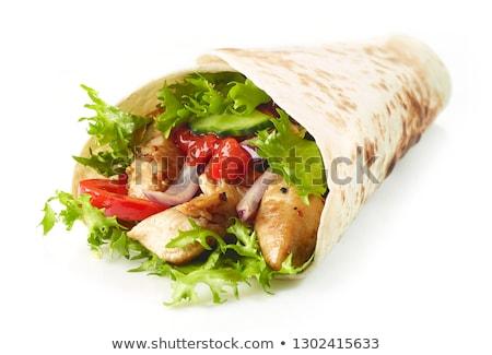 A la parrilla pan pollo ensalada tomate comida Foto stock © M-studio