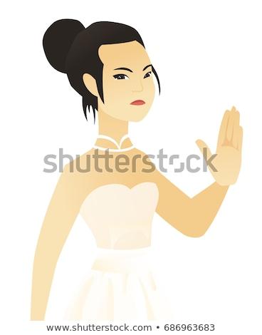 Asian verloofde tonen palm hand witte jurk Stockfoto © RAStudio