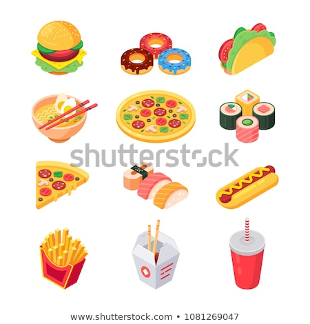 Vector set of isometric food icons. Ingredients for pizza. Stock photo © curiosity