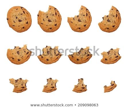 チョコレート · チップ · クッキー · かむ · 孤立した · 白 - ストックフォト © icemanj