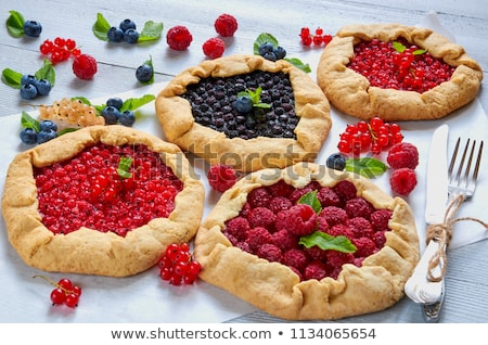 Blueberry Pie in Red Dish Stock photo © StephanieFrey