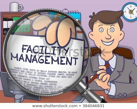 Faciliteit beheer vergrootglas doodle stijl man Stockfoto © tashatuvango
