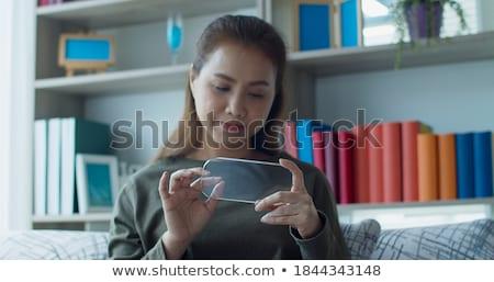 Kéz láthatatlan képernyő fehér információ női Stock fotó © wavebreak_media