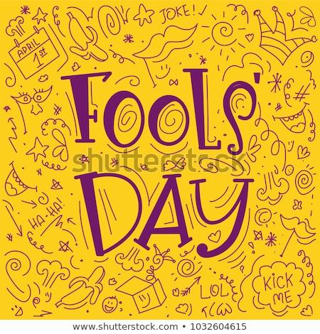 April Fools Day. Yellow funny smile Stock photo © orensila