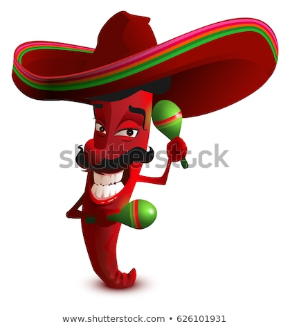red hot chili peppers in mexican hat sombrero dancing maracas stock photo © orensila