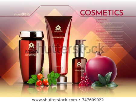 Cosmetics Vector realistic package ads template. Face cream and hair products bottles. Pomegranate a Stock photo © frimufilms
