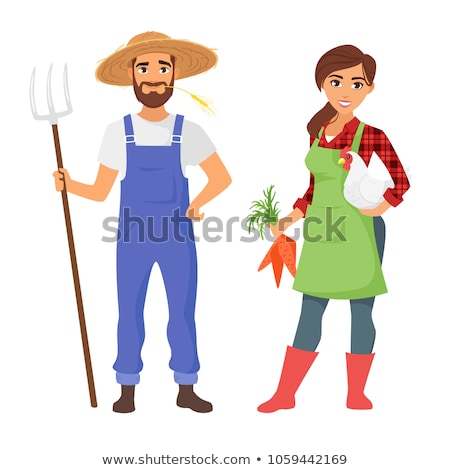Gardeners with tools - cartoon people characters isolated illustration Stock photo © Decorwithme