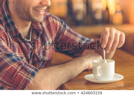 бизнесмен Бар капучино человека кофе таблице Сток-фото © IS2