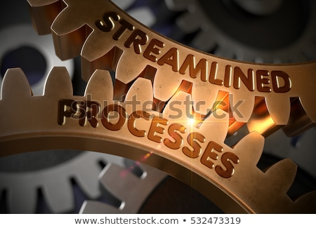 Golden Cog Gears with Streamlined Processes Concept. 3D. Stock photo © tashatuvango
