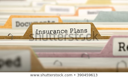card index insurance plan 3d stock photo © tashatuvango
