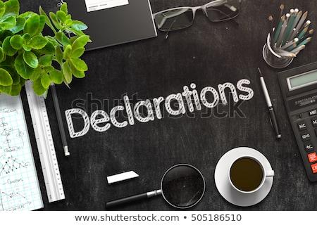 Declarations - Text on Black Chalkboard. 3D Rendering. Stock photo © tashatuvango
