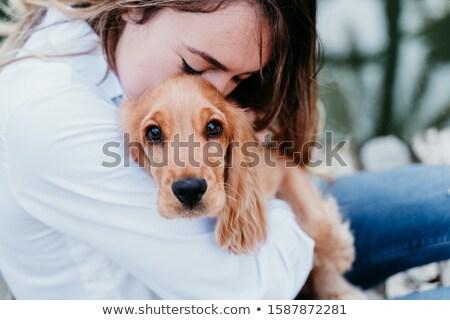 Mooie jong meisje puppy gouden vloer Stockfoto © ozgur