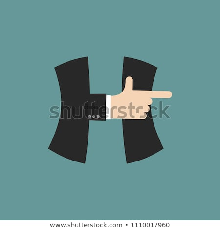 A letter businessman hand font. It shows finger print. Arm symbo Stock photo © popaukropa