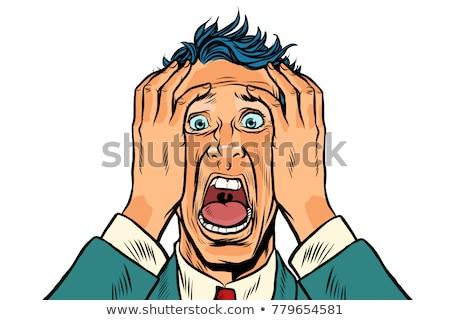 Bange man twee handen hoofd paniek Stockfoto © studiostoks