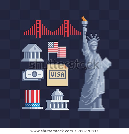 Statue of Liberty Pixel art. 8 bit landmark  America. pixelated  Stock photo © popaukropa