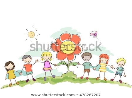 Stickman Kids Hold Hands Flower Stock photo © lenm