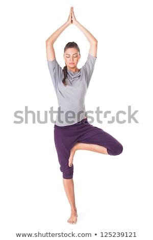 Stok fotoğraf: Yoga · kız · meditasyon · ağaç · poz · siluet