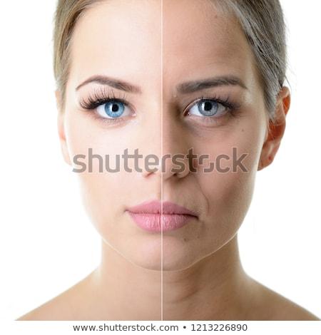 Yarım yüz Asya kadın gülen beyaz Stok fotoğraf © pressmaster