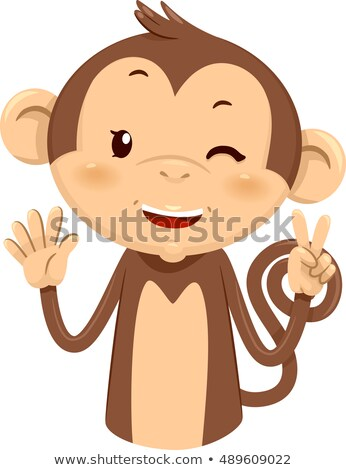 Mascotte singe sept illustration cute doigts Photo stock © lenm