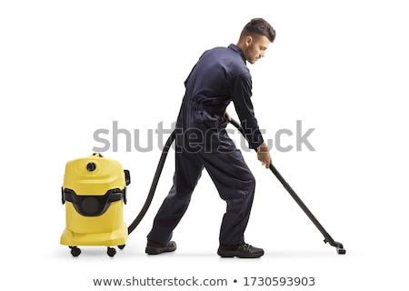 Férfi vákuum takarítás felirat férfi áll Stock fotó © IS2