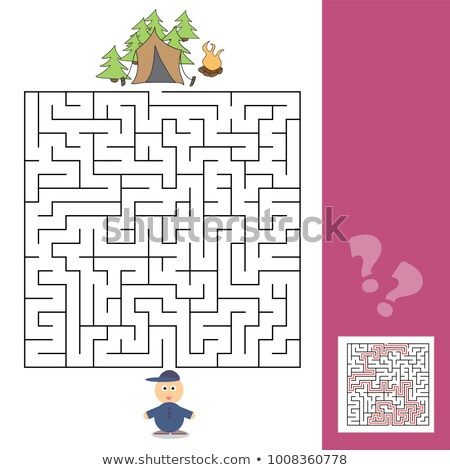 Game template with children camping - illustration with answer Stock photo © Natali_Brill