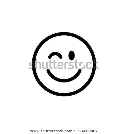 Black And White Winking Cartoon Funny Face With Smiling Expression Stock photo © hittoon