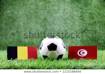 Panama vs Tunesien Fußball Fahnen grünen Stock foto © MikhailMishchenko